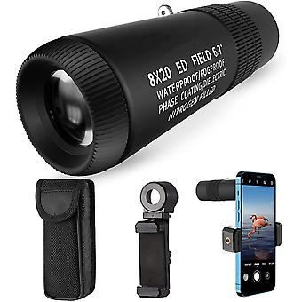 Monocular 8x20 ED Telescope Eyepiece Flat Field Bak4 Prisms Waterproof CompactTelescope for Birdwatching Hunting Camping Travelling,(black)