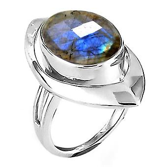 TJC Labradorite Engagement Solitaire Ring for Women in Sterling Silver 6ct(T)