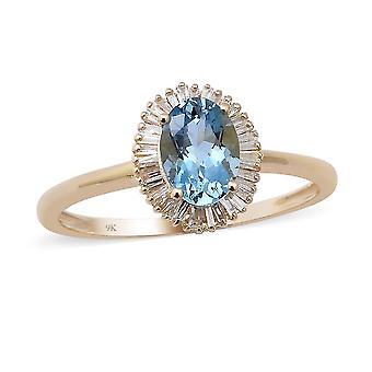 TJC Aquamarine Halo Ring 9K Yellow Gold Anniversary Gift White Diamond 0.88ct(O)