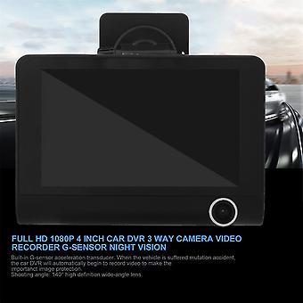 Full Hd 1080p 4 palcové auto Dvr 3 Way Camera Video Recorder G-sensor Nočné videnie