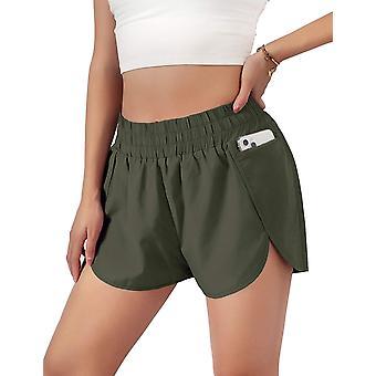 Sport Layer Elastic Waist Active Workout Shorts-green-l
