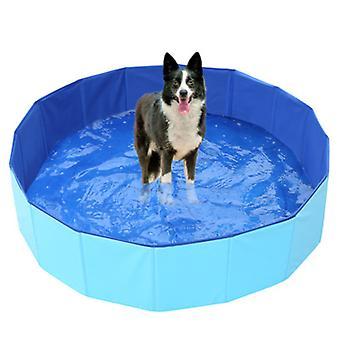 Pliabil Dog Pool, Câine / Pisică / Animal în aer liber Loc de joacă Duș Tray Cada, ușor de curățat-albastru 60 * 20cm