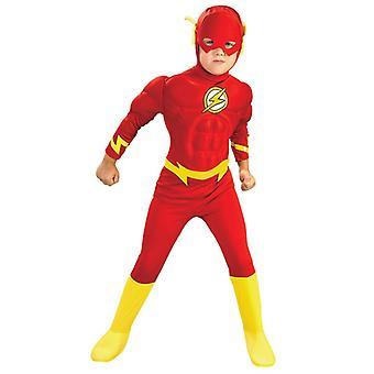 Dreng Flash Muscle Superhero Fancy Dress Kids Fantasy Comics Movie Carnival Party Halloween Cosplay Kostumer