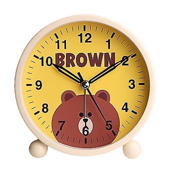 Round Small Alarm Clock, Silent Night Light Function, Student Bedside Alarm Clock, Digital Alarm Clock (little Bear)