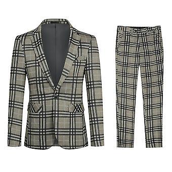 Yunyun Costume décontracté pour hommes Plaid 2 pièces Bouton Blazer et pantalon
