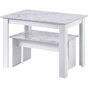 2つのベンチとダイニングテーブル