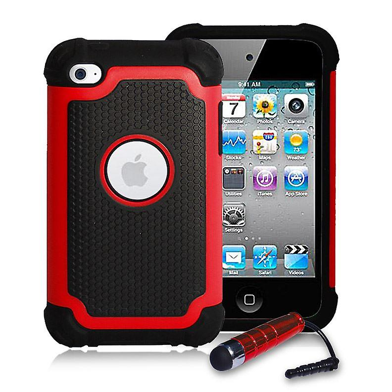 Shockproof Case Cover + stylus for Apple iPod Touch 4 - Red