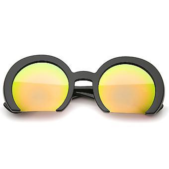 Damen Oversize halbrandlosen Flachboden Spiegel Objektiv Runde Sonnenbrille 56 mm