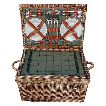 Burghley 4 Person grønne Tweed monteret Wicker picnickurv