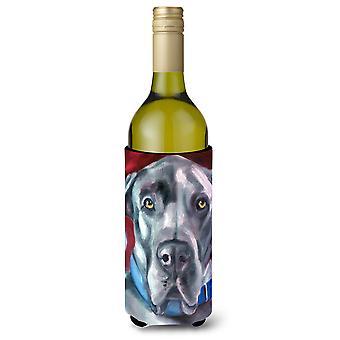Dog niemiecki naturalne uszy Blue Collar butelki wina napojów izolator Hugger