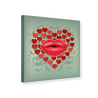 Canvas tulostaa punaiset huulet suuteli