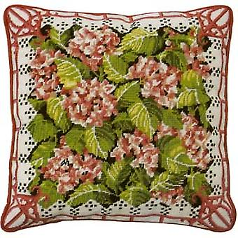 Pink Hydrangea Needlepoint Canvas
