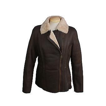 Oostelijke provincies lederen Womens/dames Celene vlieger schapenvacht jas
