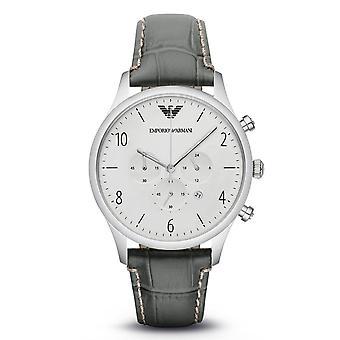 Emporio Armani Mens Gents chronographe montre cuir gris bracelet cadran argenté AR1861