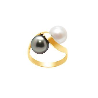 White Pearl Ring and Tahitian Pearl and Yellow Gold 750/1000 6357