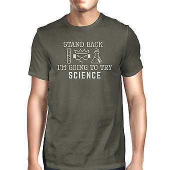 Stand terug proberen wetenschap Mens donker grijs grappige wetenschap T-Shirt katoen