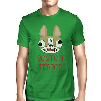 ボストン テロ テリア ハロウィン男性緑綿クルーネックのシャツ