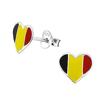 Bélgica corazón - 925 plata esterlina colorido zarcillos - W23050X