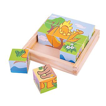 Bigjigs Toys Wooden Dinosaur Cube Chunky Jigsaw Puzzle Educational