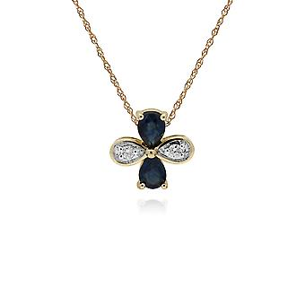 Floral Pear Sapphire & Round Diamond Clover Pendant Necklace in 9ct Yellow Gold 135P1914029