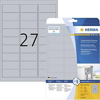 Herma 4222 Labels 63.5 x 29.6 mm Polyester film Silver 675 pc(s) Permanent Nameplates Laser, Copier