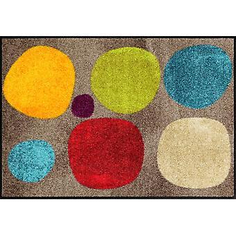Paillasson de lion salon cassé points colorés lavables saleté mat