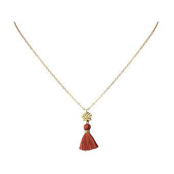 Damen - Halskette - Anhänger - 925 Silber - Vergoldet - Lotus Blume - Quaste - Rotbraun - YOGA - 45 cm