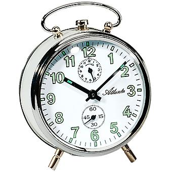 Atlanta 1065/0 of mechanical alarm clock white silver mechanical round