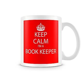Houd kalm, ik ben een boek Keeper bedrukte mok