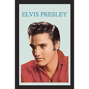 Elvis Presley portrait wall mirror with black plastic framing wood.