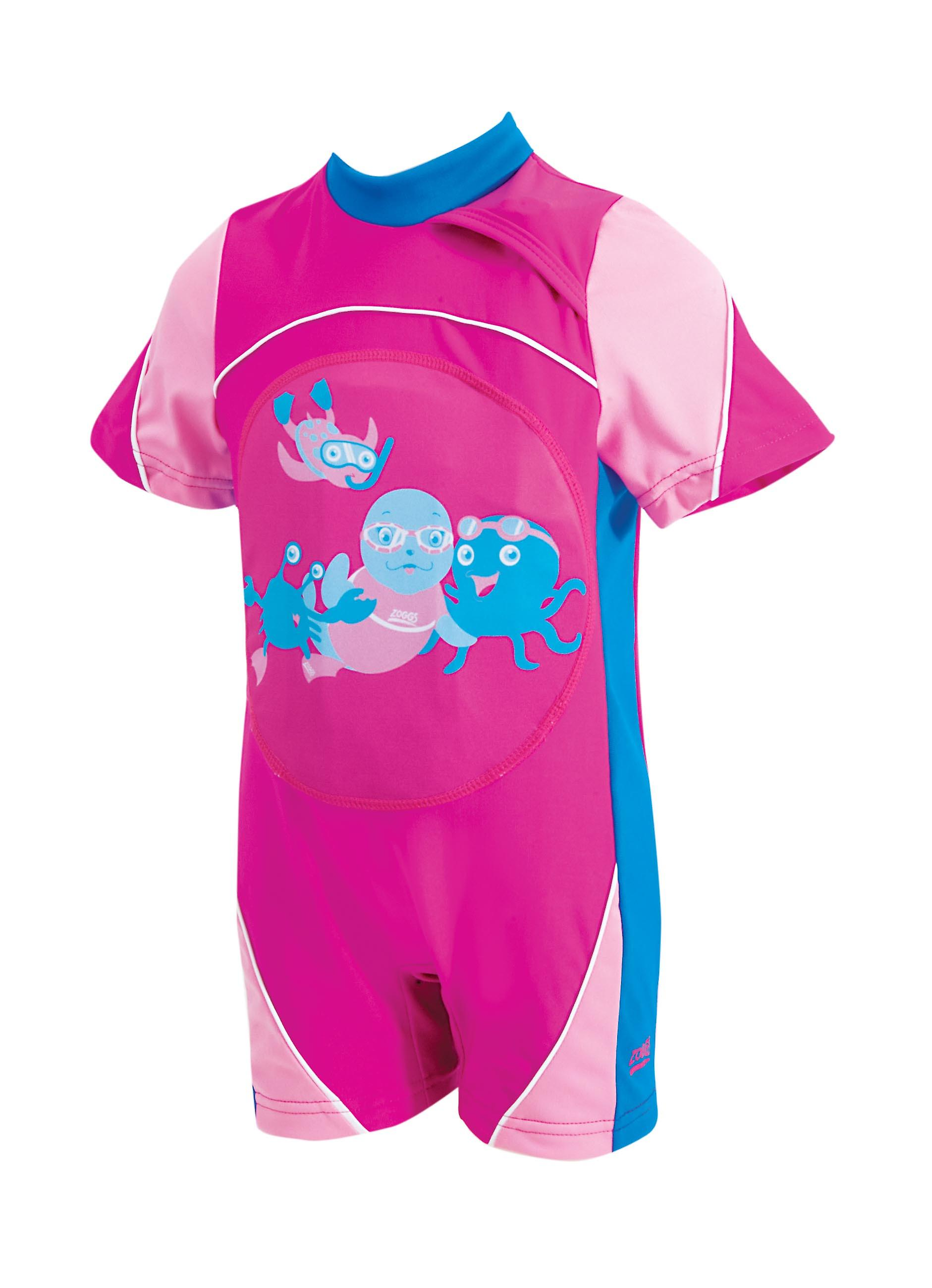 Zoggs Junior Girls Swimfree Floatsuit Pink for 1-6 Years Chlorine Resistant