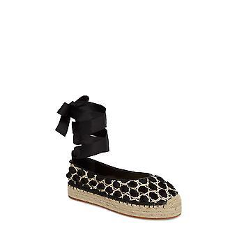 Avec Les Filles Womens Georgie Fabric Closed Toe Ankle Wrap Espadrille Flats