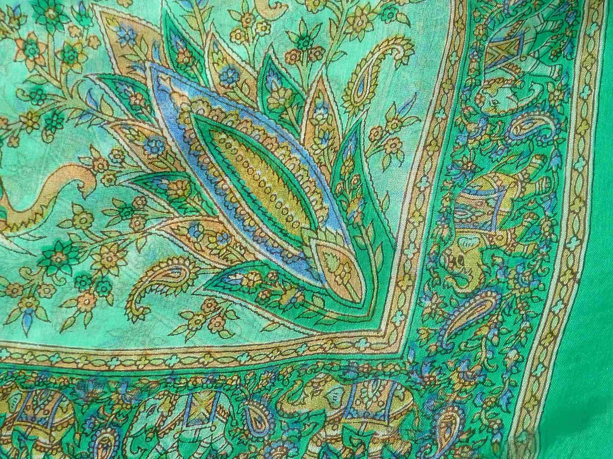 Mulberry Silk Traditional Square Scarf Goral Teal by Pashmina & Silk