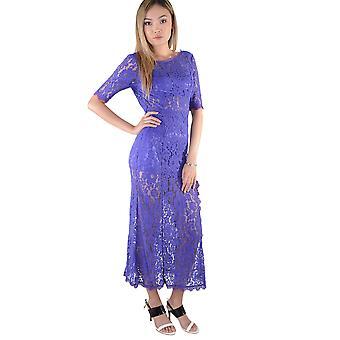 LMS Midi Length Purple Lace Dress With Leg Split