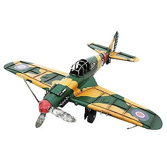 Hand Painted Metal Fighter Plane décoration ornement 40cm