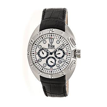 Reign Ronan Automatic Leather-Band Watch w/Day/Date - Black/Silver/Silver