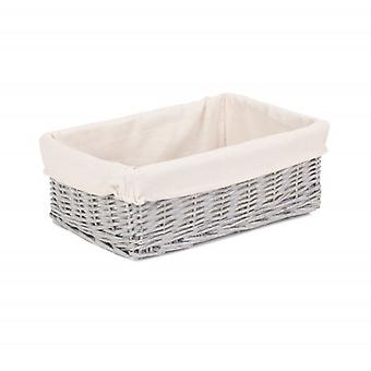 Large Grey Wash Wicker Tray With Lining