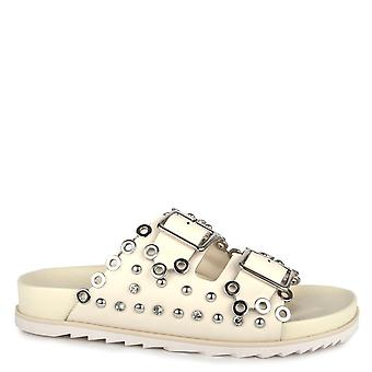 Ash UNIVERSE Two Strap Buckle Sandals White Leather & Silver Studs