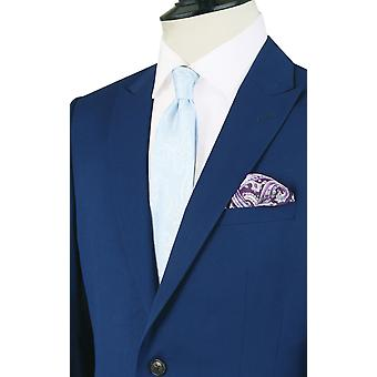 Dobell Boys helder blauwe pak jasje Fit Regular Notch revers