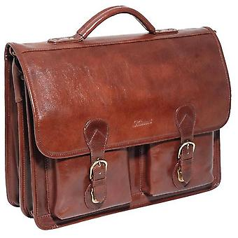Ashwood Leather Chelsea Veg Tan Compatible Laptop Briefcase - Chestnut