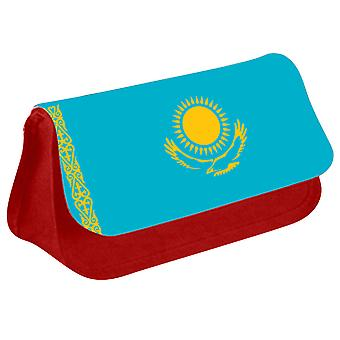 Kazakhstan Flag Printed Design Pencil Case for Stationary/Cosmetic - 0087 (Red) by i-Tronixs
