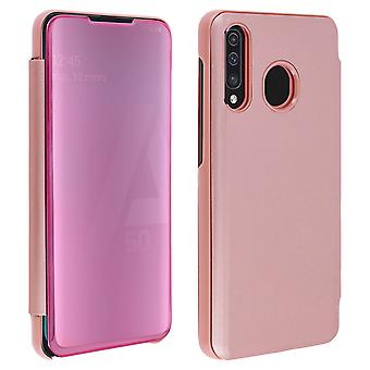 Flip Case, Mirror Case for Samsung Galaxy A50, Standing Cover - Rose gold
