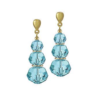 Eternal Collection Trinity Aquamarine Austrian Crystal Gold Tone Drop Clip On Earrings