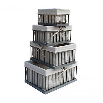 Möbler Rebecca Set 4 lådor korg trä tyg grå beige 20x40x30