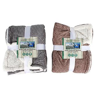 Vison macio super e cobertor alinhado Sherpa