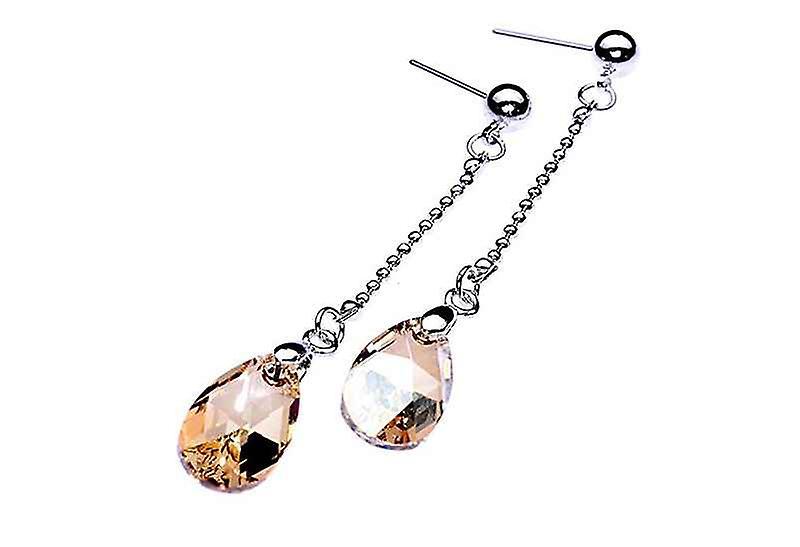 Long Teardrops Of Gold Dangle Drop Earrings, Swarovski Chrysal