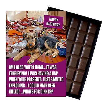 Airedale Terrier Funny Birthday Gifts For Dog Lover Boxed Chocolate Greeting Card Present