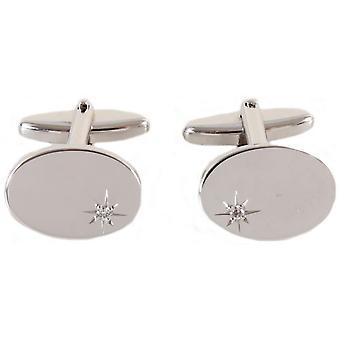 David Van Hagen Oval CZ Cufflinks - Silver/Silver