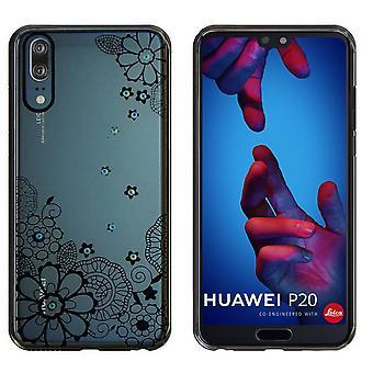 Huawei P20 Pro Case Flowers Schwarz - Backcover Clear Bumper Look