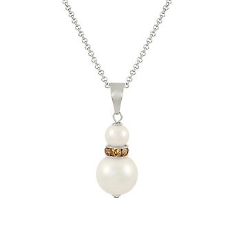 Eternal Collection Alpine Lt Colorado Topaz Crystal White Shell Pearl Silver Tone Pendant
